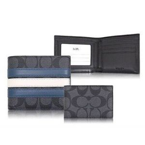 Coach 3-in-1 Calf Leather Varsity Stripe Wallet